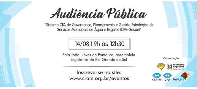 Inscreva-se: Audiência Pública sobre CFA-Gesae acontece em agosto