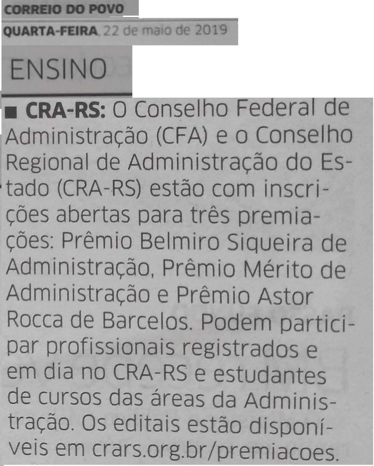 Premiações CFA e CRA-RS