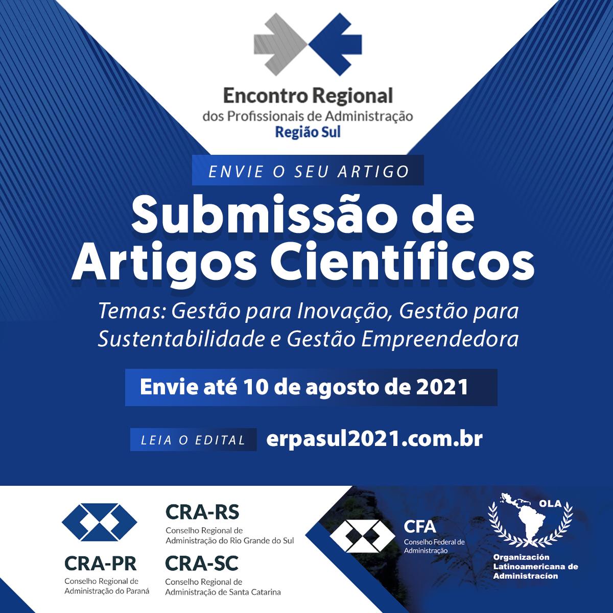 Inscreva seu artigo no ERPA Sul 2021!