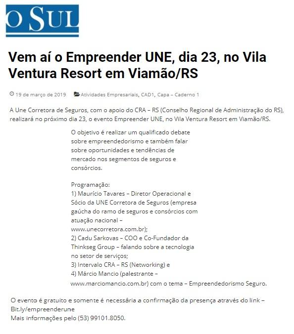 Evento Empreender UNE em parceria com o CRA-RS