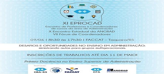 Prorrogadas as inscrições de trabalhos do XI EPROCAD para o dia 11 de maio