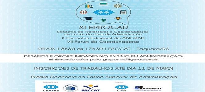 XI EPROCAD: inscrições de trabalhos encerram hoje (11/05)