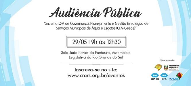 CFA-Gesae é tema de audiência pública promovida pelo CRA-RS